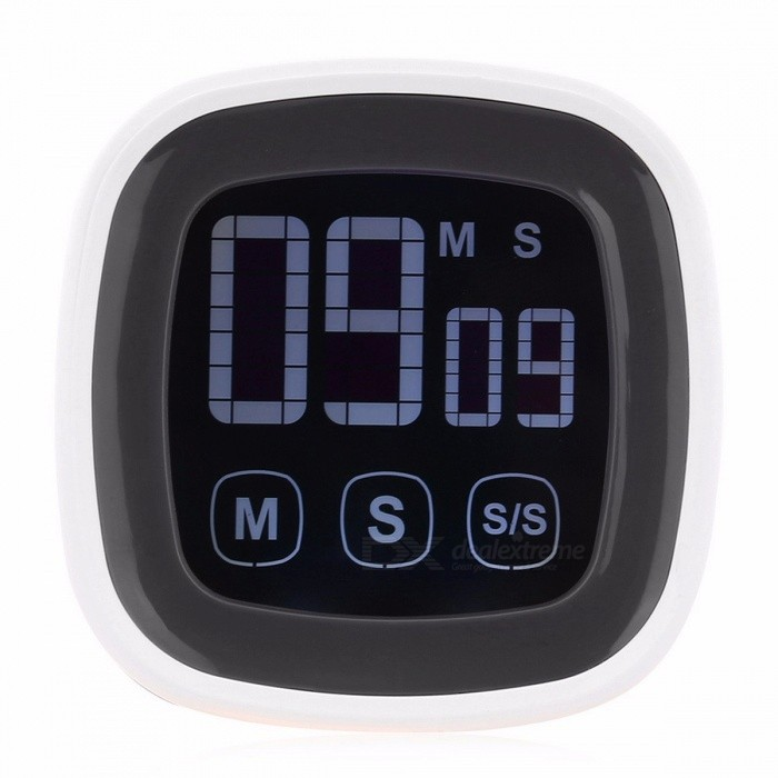Antique Style Plastic Touch Screen Kitchen Timer Buzzer Alarm Stopwatch with LED Backlight and Digital LCD Display for Night Use