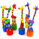 Portable Cute Dancing Stand Colorful Rocking Giraffe Wooden Intelligence Educational Toy for Kids, Children Colorful