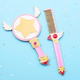 Sailor Moon / Cardcaptor Sakura Makeup Outfit, Make Up Brush Comb Mirror w/ Exquisite Packing for Woman Gift pink brush