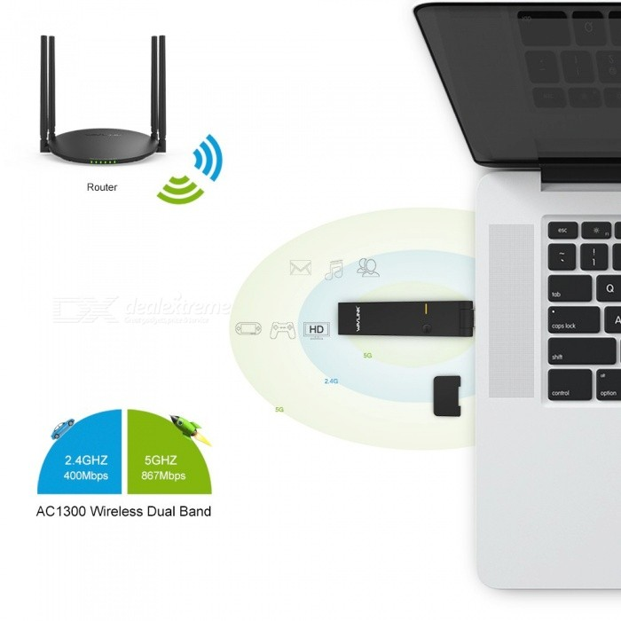 2.4G/5G Wireless Network Card Mini Dock 1300Mbps Dual Band USB Adapter Wi-Fi WPS 802.11ac/a/b/g/n Wavlink For Windows MAC OS PC