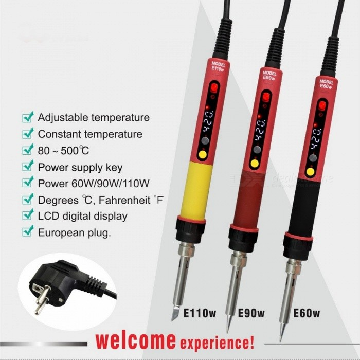 CXG E60W Professional Adjustable LED Digital Electric Soldering Iron Constant Temperature Soldering Station E90W E110W EU/E90WTDescription<br><br><br><br><br>Brand Name: CXG<br><br><br><br><br><br><br><br><br><br>Input Voltagle: 220V /110V <br><br><br>Output Temperature: 80-500 <br><br><br>Temperature Stability: as description <br><br><br>Dimensions: as description <br><br><br>Model Number: E60W/E90WT/E110WT <br><br><br>Output Power: 60W/90W/110W <br><br><br><br><br><br>Small volume but powerful functions,double keys design <br><br><br><br><br>Recover temperature fast,just few seconds to reach 350 C <br><br><br><br><br>High quality heating element,high grade temperature sensitivity <br><br><br><br><br>Two kinds of temperature display model. (Degrees &amp;amp;ordm;C ,Fahrenheit &amp;amp;ordm;F ) <br><br><br><br><br>Complement value of temperature through microcomputer. Error margin less than +/-5 C <br><br><br><br><br>High-temperature resistant,high insulation,soft-touch power cable. <br><br><br><br><br>LCD display. temperature display is clear at a glance. <br><br><br><br><br>High grade special materials,with high-temperature resistant and strong anti static.<br>