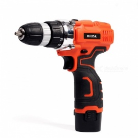 HILDA Electric Cordless Drill Screwdriver Lithium Battery Furadeira Cordless Screwdriver Power Tool Kit Drill with case