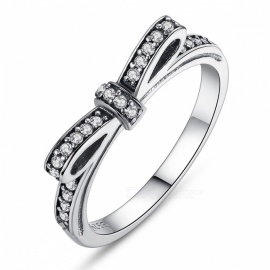 PA7104 Premium 100% 925 Sterling Silver Sparkling Bow Knot Stackable Finger Ring for Women Lady Girls PA7104/7