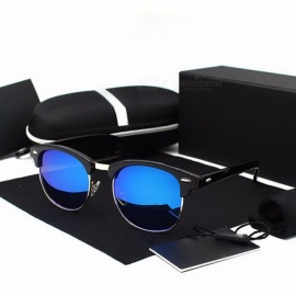 KINGSEVEN New Polarized Sunglasses Sun Glasses Eyewear with Polaroid Lens, Retro Rivet Design for Men Women C05 Blue lens