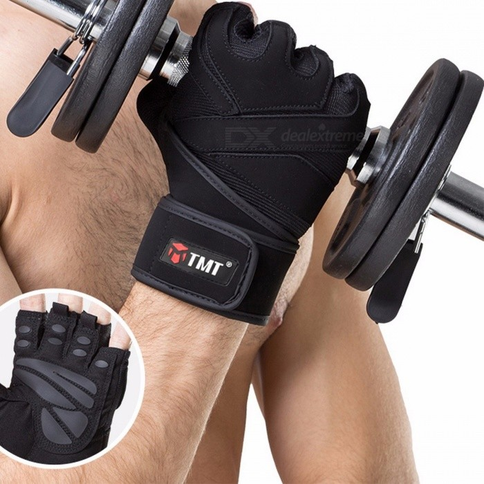TMT Sports Gym Breathable Half-Finger Gloves for Men Women Body Building Dumbbell Weightlifting Fitness