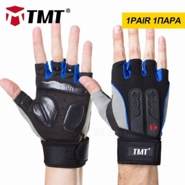 TMT Silicone Anti-slip Breathable Half-Finger Gloves for Fitness Gym Dumbbell Weight Lifting Sports Training XL/Black