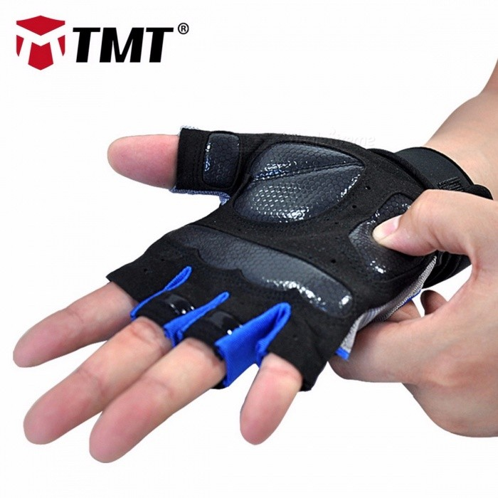 TMT Silicone Anti-slip Breathable Half-Finger Gloves for Fitness Gym Dumbbell Weight Lifting Sports Training