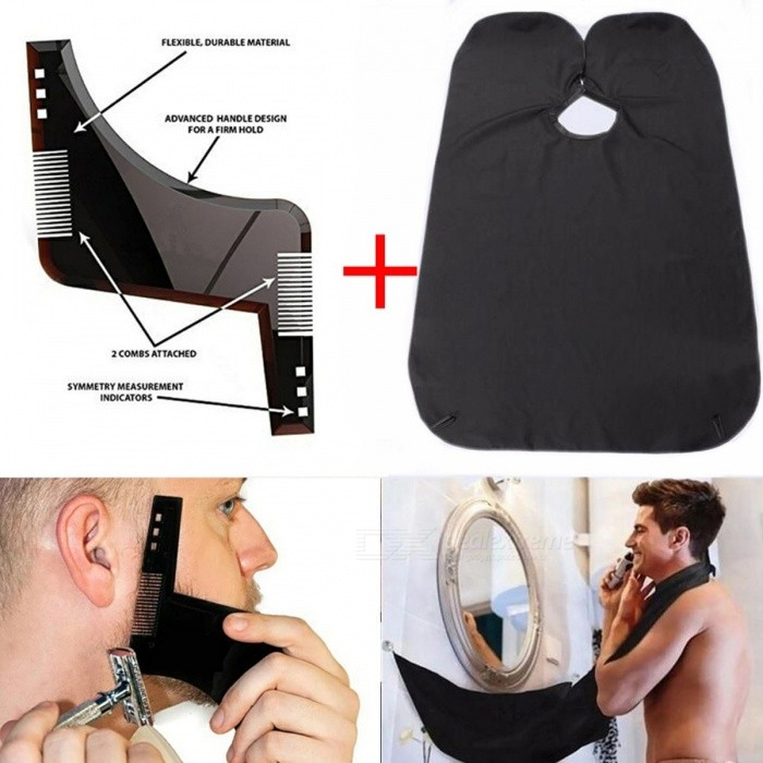 New Sex Man Gentleman Beard Shaping Tool Comb Trimmer Template with Shaving Hair Molding Beard Apron       BlackHair Brush and Comb<br>Description<br><br><br><br><br>Material: Plastic<br><br><br>Item Type: Comb<br><br><br><br><br><br><br><br><br><br><br><br>Beard Template Color : Shown as pictures&amp;nbsp;<br><br><br>Beard Template Size: 15*12.5cm<br><br><br>Beard Apron Color: Black white<br><br><br>Beard Apron Size: 130 * 80cm&amp;nbsp;<br><br><br>Package Include :<br><br><br>1* Beard Apron&amp;nbsp;<br><br><br>1* Beard Template<br><br><br>NOTE:<br><br><br>The Color of the Powder will be a little different due to different light when taking pictures .<br><br><br>Thanks for your support and understanding!<br>