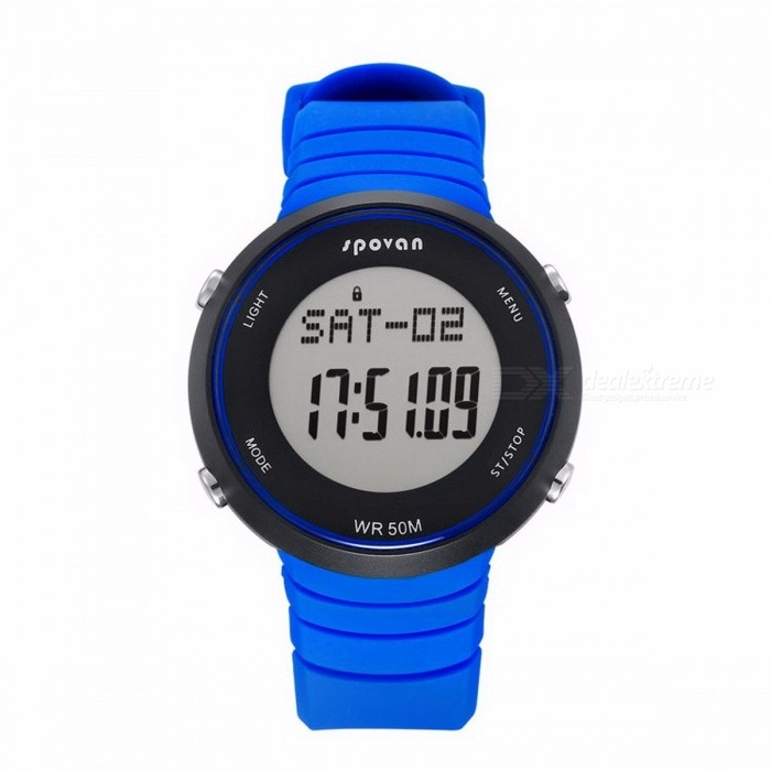 SPOVAN Wireless Pulse Heart Rate Monitor Luxury LED Fitness Exercise Sport Digital Watch Clock w/ Chest Strap  RedFitness electronics<br>Description<br><br><br><br><br>Item Type: Digital Wristwatches<br><br><br>Feature: Back Light,Alarm,Water Resistant,Chronograph,Perpetual Calendar,Repeater,Stop Watch,Heart Rate Monitor,Complete Calendar,Auto Date,LED display<br><br><br><br><br>Movement: Digital<br><br><br>Boxes &amp;amp; Cases Material: Paper<br><br><br><br><br>Gender: lovers<br><br><br>Style: Sport<br><br><br><br><br>Case Material: Plastic<br><br><br>Case Shape: Round<br><br><br><br><br>Water Resistance Depth: 5Bar<br><br><br>Brand Name: spovan<br><br><br><br><br>Band Material Type: PU<br><br><br>Clasp Type: Buckle<br><br><br><br><br>Dial Window Material Type: Hardlex<br><br><br><br><br><br><br><br><br><br><br><br><br>Features:<br><br><br>1. Time Calendar Function <br><br><br>2. 2 sets alarm/Chime <br><br><br>3. Stopwatch: SPL function <br><br><br>4. Countdown function <br><br><br>5.Pedometer: 3 display modes <br><br><br>6. 50 days data memory storage <br><br><br>7. Heart rate monitor <br><br><br>8. Low power remind <br><br><br>9. EL backlight <br><br><br>10. 50M waterproof. <br><br><br>&amp;nbsp;<br><br><br>Specifications: <br><br><br><br><br>Color: Blue, Black, Red&amp;nbsp;(optional) <br><br><br>Material: PU + ABS + Stainless steel + Acrylic <br><br><br>Dial size: 44 * 15mm / 1.7 * 0.6in (diameter * thickness) <br><br><br>Net weight: 44g / 1.55oz <br><br><br>Chest belt weight: 63g / 2.2oz <br><br><br>Package size: 14 * 11 * 8cm / 5.5 * 4.3 * 3.1in <br><br><br>Package weight: 215g / 7.6oz <br><br><br><br><br>Package List: <br><br><br><br>1 * Heart Rate Watch <br><br><br>1 * Chest Belt <br><br><br>1 * User Manual (English)<br>