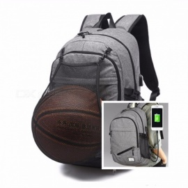 Multifunction Canvas Basketball Soccer Sports Backpack w/ Football Net, USB Charging Port, Man School Bag for Teenager Black Color