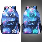 Multifunction Night Star Luminous Unisex Climbing Backpack, Cartoon Outdoor Sports School Bag with USB Charging Port Style 14