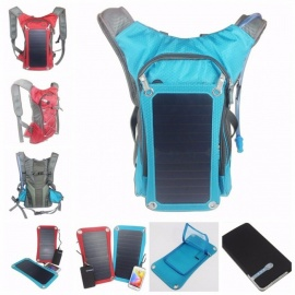 New Sport Cycling Water Bag Outdoor Solar Panel USB Charger Bicycle Hydration Backpack Knapsack for Moible Phone Camping Travel  Other/Red