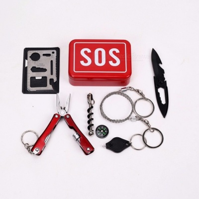 Outdoor Emergency Equipment SOS Kit Car Earthquake Emergency Supplies SOS Camping Survival Tool Kit Gear Red