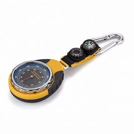 4-in-1 Outdoor Compass Barometer Thermometer with Carabiner Clip for Traveling Camping Hiking Climbing  yellow and gray