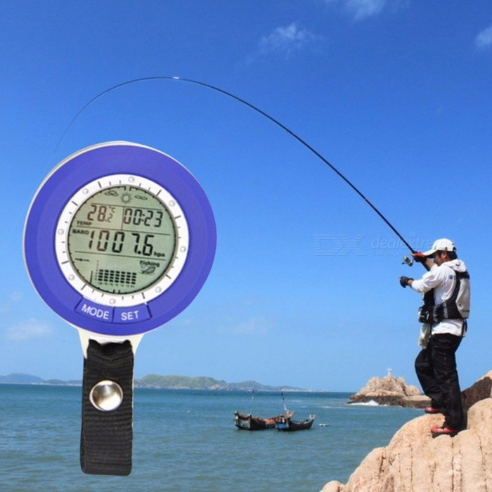 Multi-function LCD Digital Fishing Barometer Outdoor Fishing Barometer Altimeter Thermometer High Quality BlueDescription<br><br><br><br><br>Carrying Mode: Handheld Type<br><br><br>With Noctilucent Display or Not: No<br><br><br><br><br>Use: Barometer<br><br><br>Dial Display: Digital<br><br><br><br><br>Outdoor Activity: Camp<br><br><br>Brand Name: TSAI<br><br><br><br><br>Waterproof / Water-Resistant: Yes<br><br><br>Shockproof or Not: No<br><br><br><br><br>Case Material: Other<br><br><br><br><br><br><br><br><br><br><br><br>100% Brand new and high quality!<br>Smart tracking barometric pressure for 6 fishing places.<br>Smart reminding suitable fishing time.<br>24 hours barometric pressure trend chart.<br>3 days air pressure &amp;amp; temperature record.<br>Incorporates altimeter, barometer, temperature, weather forecast, countdown timer, time &amp;amp; data functions, etc.<br>IPX 4 waterproof.<br>LCD backlit. <br><br><br><br><br><br>Range from 300hpa to 1100hpa<br>Hpa and Inhg unit switch available<br>Resolution of 0.1hpa<br>Thermometer:<br>Range from -20degree&amp;nbsp;to +60degree<br>degree&amp;nbsp;and unit switch available<br>Resolution of 0.1 degree<br>Data records: 6 sets of data for fishing places including pressure, time, depth<br>Countdown timer: Range from 0 to 99:59:59<br>Weather forecast:<br>4 weather status indication(sunny, partly cloudy, cloudy, rainy)<br>The weather forecast for next 12 to 24 hours<br>Time: 12/24 hour format switch available<br>Date display : month, day<br>3 days historical data record: Record 3 days max (min) pressure, max (min) temperature<br>Material: Plastic<br>Color: Blue<br>Size: 65 X 53 X 15mm<br>
