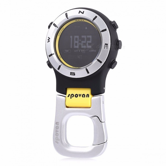 Spovan 3ATM Waterproof Multi-functional Outdoor Digital Sports Watch Barometer Altimeter Thermometer Compass w/ Backlight BDescription<br><br><br><br><br>With Noctilucent Display or Not: Yes<br><br><br>Outdoor Activity: Mountain-climbing<br><br><br><br><br>Carrying Mode: Hanging Ring Type<br><br><br>Waterproof / Water-Resistant: Yes<br><br><br><br><br>Shockproof or Not: No<br><br><br>Brand Name: spovan<br><br><br><br><br>Use: Pointing Guide<br><br><br>Dial Display: Double Display<br><br><br><br><br>Case Material: Other<br><br><br><br><br><br><br><br><br><br>Style: Fashion &amp;amp; Casual, Military, Outdoor Sports <br><br><br>Battery Type: CR2032 <br><br><br>Water resistance: 30 meters <br><br><br>Function 1: Alarm,Altimeter,Auto Date,Back Light,Chronograph,Compass <br><br><br>Function 2: Complete Calendar,Led Display,Luminous,Multiple Time Zone,Thermometer <br><br><br>Type: Multi-functional Compass <br><br><br>Using scene: Camping fishing hiking Mountain climbing etc <br><br><br>People: Man woman Unisex <br><br><br>Package weight: 0.166 kg <br><br><br><br>We Designed It, You Own It!<br><br><br>Spovan Element 2 climbing <br>mountaineering watch with electronic sensors which measures and shows <br>the outdoor conditions: Temperature, pressure, altitude and compass <br>directions; Also provides the essential information and the time during <br>you are performing hiking, wild camping and other outdoor activities <br>especially for a prolonged period.<br> Spovan Element 2 climbing <br>mountaineering watch also includes current time, daily alarm, <br>chronograph, timer, pacer and dual time function.<br><br>Main Features:<br> - Hour, minute, second, year (2000 - 2099), month, date, day, 12H / 24H<br> - Countdown timer (59 minutes 5seconds~0)<br> - Stopwatch (0 ~ 99 hours 59 minutes 59 seconds 99)<br> - Compass, altimeter, barometer, thermometer function&amp;nbsp;<br> - Air pressure trend chart ( latest 48 hours)<br> - Recording 7days date of altitude, barometric<br> - Recoring climbing altitude and sport time&amp;nbsp;<br> - Bearing tracking<br> - Low Battery reminder<br> - EL backlight <br><br><br>&amp;nbsp;<br><br><br><br>People:&amp;nbsp;Unisex table&amp;nbsp;<br>Watch style:&amp;nbsp;Fashion&amp;amp;Casual,Military,Outdoor Sports&amp;nbsp;<br>Available color:&amp;nbsp;Red,Yellow <br><br><br>Shape of the dial:&amp;nbsp;Round&amp;nbsp;<br>Movement type:&amp;nbsp;Digital watch&amp;nbsp;<br>Display type:&amp;nbsp;Digital&amp;nbsp;<br>Case material:&amp;nbsp;PC <br><br><br>Clasp type:&amp;nbsp;Buckle <br><br><br>Special features:&amp;nbsp;12/24<br> hours switch,Alarm Clock,Altimeter,Barometer,Compass,Countdown <br>function,Date,Day,EL Back-light,Month,Stopwatch,Thermometer&amp;nbsp;<br>Water resistance :&amp;nbsp;30 meters&amp;nbsp;<br>Battery Type:&amp;nbsp;CR2032 <br><br><br>The dial thickness:&amp;nbsp;1.6 cm / 0.6 inches&amp;nbsp;<br>The dial diameter:&amp;nbsp;5.5 cm / 2.2 inches&amp;nbsp;<br>Package weight:&amp;nbsp;0.166 kg&amp;nbsp;<br>Product size (L x W x H):&amp;nbsp;10.50 x 5.30 x 1.50 cm / 4.13 x 2.09 x 0.59 inches&amp;nbsp;<br>Package size (L x W x H):&amp;nbsp;19.00 x 10.00 x 3.00 cm / 7.48 x 3.94 x 1.18 inches <br><br><br>Package Contents:&amp;nbsp;1 x Spovan Element 2 Military Climbing Mountaineering Watch <br><br><br><br>&amp;nbsp;<br><br><br>&amp;nbsp;<br><br><br>About Water-resistant Watches<br> Water Resistant Watches are sealed to witstand some pressure.&amp;nbsp;<br><br> Water resistance is tested in measurements of atmosphere (ATM). Each <br>ATM denotes 10 meters of static water-pressure. This is not the depth to<br> which a watch can be worn. Many watch cases will list the basic <br>measurement of 1 ATM as water-resistant. These watches will withstand <br>small splashes of water but should not be worn while washing the hands <br>or submerging the hands in water.&amp;nbsp;<br><br> Remember, water resistance <br>is tested under static conditions. Wearing a watch which is 50 metres <br>water resistant in water will expose the watch to a much greater <br>pressure than during a 50 metre static test. Therefore the number of <br>metres shown on the watch does not indicate the depth that the watch can<br> be taken to.&amp;nbsp;<br><br>Here is a general guide<br> 50M = 5ATM = Shower Proof - its ok to get it wet a bit.&amp;nbsp;<br> 100M = 10ATM = Extended Water Exposure good for swimming or snorkeling.&amp;nbsp;<br> 200M = 20ATM = Pressure Resistant made for Scuba and Skin Diving.<br>