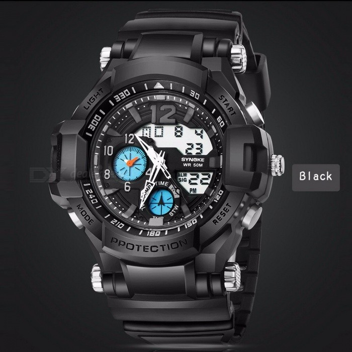 Multi-Functional 50M Waterproof Outdoor Sport Timekeeping LED Digital Double Action Watch w/ Compass Function for Men BlackDescription<br><br><br><br><br>Brand Name: BYIA<br><br><br>Gender: Men<br><br><br><br><br>Style: Sport<br><br><br>Movement: Digital<br><br><br><br><br>Case Material: Stainless Steel<br><br><br>Clasp Type: Buckle<br><br><br><br><br>Water Resistance Depth: 5Bar<br><br><br>Feature: Complete Calendar,Compass,Week Display<br><br><br><br><br>Boxes &amp;amp; Cases Material: No package<br><br><br>Dial Window Material Type: Glass<br><br><br><br><br>Case Shape: Round<br><br><br>Band Material Type: PU<br><br><br><br><br>Item Type: Digital Wristwatches<br><br><br><br><br><br><br><br><br><br><br><br><br><br>Feature:<br><br> <br><br><br><br>100% Brand new High Quality<br><br><br><br><br>Movement: Double Digital movement<br><br><br><br><br>Fashion Sports style<br><br><br><br><br><br>Brand<br><br><br>SYNOKE<br><br><br><br><br>Model<br><br><br> 67366<br><br><br><br><br> Movement<br><br><br> High-quality electronic movement + high-quality Japanese movement, with high-quality batteries CR2025 and 377<br><br><br><br><br> Features<br><br><br> Luminous,<br> alarm, 50m swimming water, the whole point timekeeping, running <br>seconds, the date display, dual movement display, 12/24 hour system.<br><br><br><br><br> Material<br><br><br> High-quality<br> ABS case, high-quality PU strap, thicker and hard resin mirror, <br>stainless steel bottom cover, stainless steel buckle.<br><br><br><br><br>Color<br><br><br> Black, black and green, black and blue, black and yellow.<br><br><br><br><br><br><br><br>   Specification:<br><br><br><br><br> Net weight: 79.4g<br><br><br><br><br> Gross weight: 82.2g<br><br><br><br><br> Watch full length: 258mm<br><br><br><br><br> Dial diameter: 54.23mm<br><br><br><br><br> Dial thickness: 19.98mm<br><br><br><br><br> Strap width: 21.95<br><br><br><br> <br><br> Package Content:<br><br> <br><br><br><br> 1 x LED Sports Watch<br>