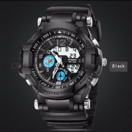Multi-Functional 50M Waterproof Outdoor Sport Timekeeping LED Digital Double Action Watch w/ Compass Function for Men Black