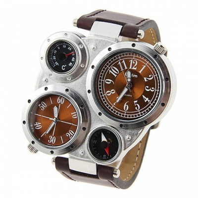 Oulm Specialty Adventure Military Multi-Functional Men's Quartz Watch Wristwatch w/ Compass, Thermometer Functions Brown