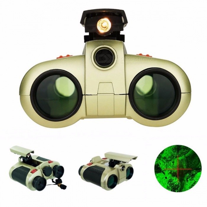 Portable 4x30mm Night Vision Viewer Surveillance Spy Scope Binocular Telescope, Pop-up Light Tool for Outdoors