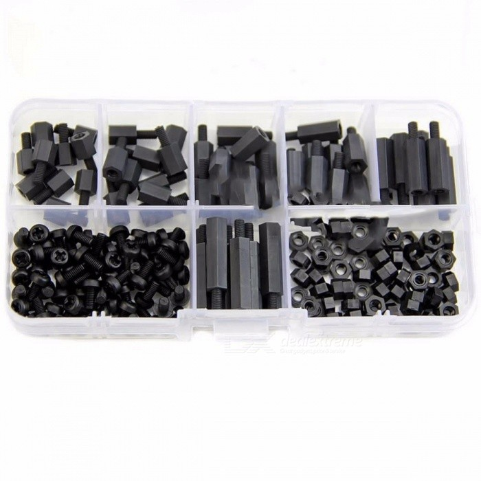 M3 Nylon Black Hex M-F Male-Female Spacers / Screws / Nuts Assorted Kit, Standoff Set with Plastic Storage Box