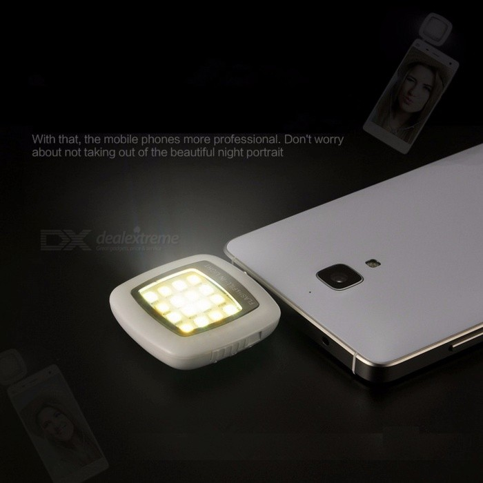 Mini Portable Rechargeable 16-LED Selfie Flash LED Camera Lamp Light for IPHONE 6 6s Samsung HTC LG Xiaomi Mobile Phones