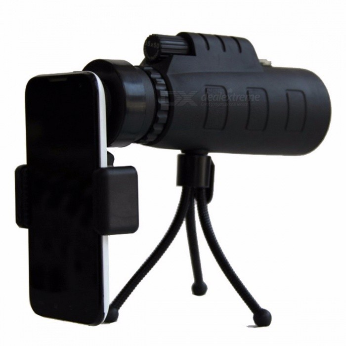 Outdoor HD 35X50 Monocular Telescope Compass &amp; Adjustable Tripod Phone Photographing Hunting Camping Equipment TripodBinoculars And Telescopes<br>Description<br><br><br><br><br>Brand Name: MOONBIFFY<br><br><br>Type: Monocular<br><br><br><br><br><br><br><br><br><br><br><br>Features:<br>Magnification:30X50 .<br>The optics provide high quality image.<br>This product have focus capability,single hand operation.<br>Multi coated optics guarantee superior light transmission and brightness and it also can ease eye fatigue.<br>Suitable for travel, vacation, walking, hiking, sports enjoy beautiful nature, view birds, watch sorts, general purpose.<br>Compact and lightweight,practical and durable, high quality material is also suitable for harsh environments.<br>Day night vision.It will help you see things in low light, it doesnt help you see things in the dark. (Cant be used at night!)<br>A<br> tripod, phone clip-on, and both of them can provide you with more <br>convenience to connect it to the phone and view more clearly.<br>&amp;nbsp;<br>Specification:<br>Color: black<br>Monocular size: As picture shows<br>Model: 35x50<br>Field of View: 1200/9500m<br>Objective diameter: 52mm<br>Monocular Weight:0.3KG <br><br>Item length:145*52mm<br>
