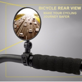 360 Rotate Bicycle Bike Rear View Glass Mirror Cycling Wide Range Back Sight Reflector Angle Adjustable Handlebar Mirrors 1 Pair Black
