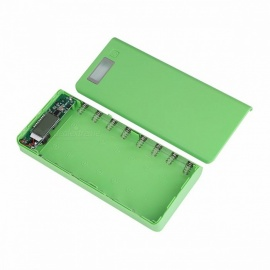 (No Battery) DIY 5V 2A Portable 8x18650 Battery Power Bank Protective Shell Case Box w/ LCD Display, Dual USB 2 Ports  Green