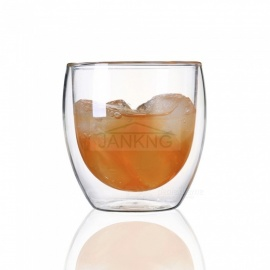 JANKNG Transparent Heat-resistant Double Wall Glass Cup, Handmade Creative Beer Tea Coffee Mug Drinkware 450 mL