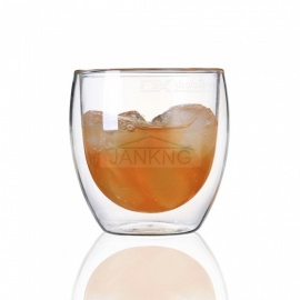 JANKNG Transparent Heat-resistant Double Wall Glass Cup, Handmade Creative Beer Tea Coffee Mug Drinkware 350 mL