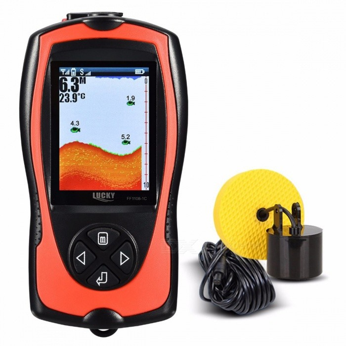 LUCKY FF1108-1 FF1108-1CT Portable Fish Finder Depth Sonar Sounder Alarm Waterproof Fishfinder Sonar Tool FF1108-1CTDescription<br><br><br><br><br>Brand Name: LUCKYLAKER<br><br><br>Language: English<br><br><br><br><br>Power Source: DC 10V-18V<br><br><br>Sonar Frequency: Cable: 200Khz<br><br><br><br><br>Power Input: AAA<br><br><br>Detecting Range: 0.6-183 Meter<br><br><br><br><br><br><br><br><br><br><br><br>Detecting Range: 0.6-183 Meter <br><br><br>Display: 2inch TN/ANTI-UV LCD <br><br><br>Back lighting: Green LED <br><br><br>Depth Capability: 328 feet( 100 m) <br><br><br>Sonar Coverage: 45 degrees in 200Khz <br><br><br>Waterproof design: Level-4 (spray-water-proof) <br><br><br>FF1108-1CT Menu Approved Language: English&amp;amp; Russian <br><br><br>Manual Approved Language: English&amp;amp; Russian <br><br><br><br>FF1108-1CT: Upgrated version of FF1108-1:<br><br><br>High definition LCD;<br><br><br>English&amp;amp; Russian menu;<br><br><br>Rechargeable Monitor.<br><br><br><br><br><br><br><br><br>PRODUCT SPECIFICATION OF FF1108-1:<br><br><br>1) Display: 2inch TN/ANTI-UV LCD<br><br><br>2)&amp;nbsp;Back lighting: White LED<br><br><br>3) Depth Capability: 328feet(100m)<br><br><br>4) Power Requirement: 4xAAA alkaline batteries<br><br><br>5) Waterproof design: level-4 (spray-water-proof)<br><br><br>6) Show water depth, fish location, and bottom grass &amp;amp; rock<br><br><br>7) User selectable sensitivity,depth units, and fish alarm setting&amp;nbsp; <br><br><br><br>8) Operational Temperature:&amp;nbsp; 14°F to 122°F(-10°C to 50°C)<br>