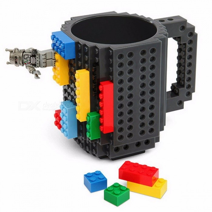 1Pc Build a Brick 12oz 350ML Frozen Coffee Mug, DIY Building Blocks Puzzle Lego Coffee Cup for Christmas Gift