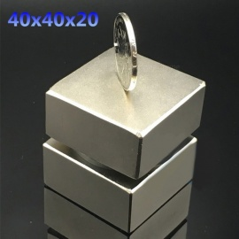 2Pcs 40x40x20mm Gallium Metal Super Strong Neodymium Magnets, 40*40*20 Square Powerful Permanent Neodimio Magnets Silver