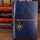 Spiral Notebook, Diary Notepad Vintage Pirate Anchors PU Leather Note Book, Replaceable Stationery Gift Traveler Journal Medium 130x185mm/Coffee