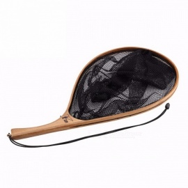 SeaKnight 52cm 38cm 170g Oval Landing Net, Solid Fishing Dip Net w/ Curved Wooden Handle & Rope for Stream Fly Fishing Black