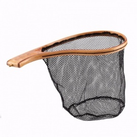 seaknight portable small size hand fishing landing net w / waterproof wooden handle voor vliegvissen gebogen handvat