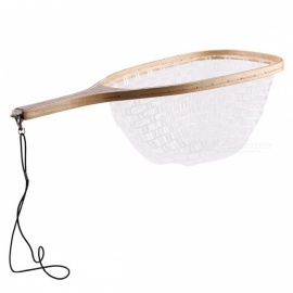 SeaKnight 62cm 30cm Big Waterproof Stream Fly Fishing Landing Net, Rubber Dip Net w/ Wooden Handle, Retention Rope White