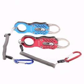 SeaKnight Portable Mini Fish Grip 120*35mm SK003 Metal High-strength Fishing Gripper Retention Rope Hanging Buckle Fishing Tools Blue