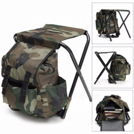 Foldable Fishing Chair Backpack Fishing Equipment Camouflage Oxford Cloth Metal Tube Portable Bifunctional Fishing Bag And Chair Camouflage