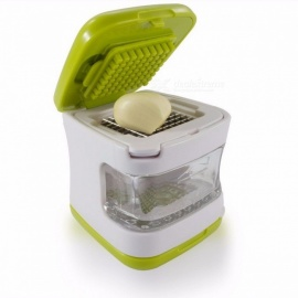 Portable Lightweight Garlic Press with Very Sharp Stainless Steel Blades, Built-in Clear Plastic Tray Green color