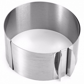 Retractable Stainless Steel Circle Mousse Ring Baking Bakeware Tool with Adjustable Cake Mould Mold Size from 16-30cm sliver