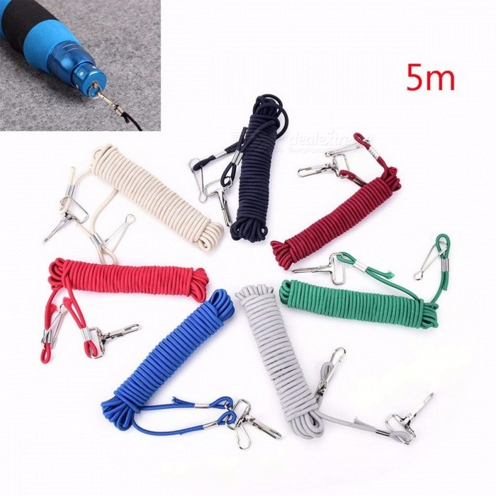 Portable Premium 5m Fishing Missed Rope, Fish Pole Rod Protector Elastic Line with Fishing Tackle Hook