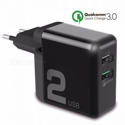 ROCK Universal Dual USB 30W Quick Charging Smart QC 3.0 FCP Phone Charger for Xiaomi IPHONE Samsung Huawei  EU PLUG