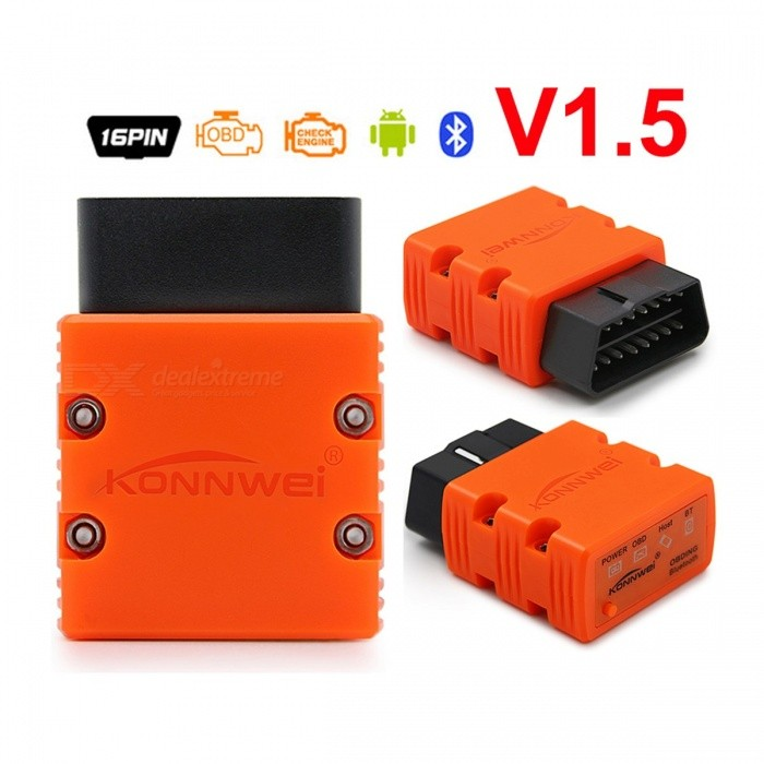 Konnwei ELM327 Bluetooth V1.5 PIC18F25K80 OBDII OBD2 Scanner MINI ELM 327 KW902 for Android Phone Windows PC Scan Tool OrangeCode Readers and Scan Tools<br>Description<br><br><br><br><br>Item Type: Code Readers &amp;amp; Scan Tools<br><br><br>Language: English<br><br><br><br><br>Brand Name: KONNWEI<br><br><br>Special Features: Bluetooth<br><br><br><br><br>Software Update: Yes<br><br><br><br><br><br><br><br><br><br>Item name: Konnwei kw902 V1.5 ELM327 Bluetooth <br><br><br>Chip: PIC18F25K80 <br><br><br>Performance: Stable and Reliable <br><br><br>Features 1: OBD ELM327 V1.5 Bluetooth with Swith <br><br><br>Features 2: for Windows Android Phone Tablet <br><br><br>Features 3: Scan Tool OBD 2 OBD2 Scanner <br><br><br>Technician Support: Free and In time <br><br><br>Support: Anadroid phone,wondows PC <br><br><br><br>Universal Bluetooth V1.5 ELM327 Compatible Device :<br><br><br>Android<br><br><br>Smartphones (Android 2.2 and newer)<br><br><br>Tablets (Android 2.3.3 and newer)<br><br><br>Windows<br><br><br>Bluetooth-enabled PC, Laptops, Netbooks (Windows XP SP2 and newer)<br><br><br>Smartphones (Windows Phone 8 and newer)<br><br><br>Tablets (Windows 8 and newer)<br><br><br>For Blackberry<br><br><br>Smartphone (BB 10.0.0.0 and newer)<br><br><br>Tablet (BB 2.0.0.0 and newer)<br><br><br>&amp;nbsp;<br><br><br>Buyer Notice :<br><br><br>1. This device cant work for iPhone and car DVD,<br><br><br>2. If your windows pc or laptops dont support bluetooth , this device will not suitable for you.<br><br><br>&amp;nbsp;Universal Bluetooth V1.5 ELM327 Support Language:<br><br><br>These software support a lot of languages, like Russian, Spanish, French, German, English, Italian, Portuguese...and so on.<br><br><br>( you can download the app : Torque , to see whether it include your country language.)<br>