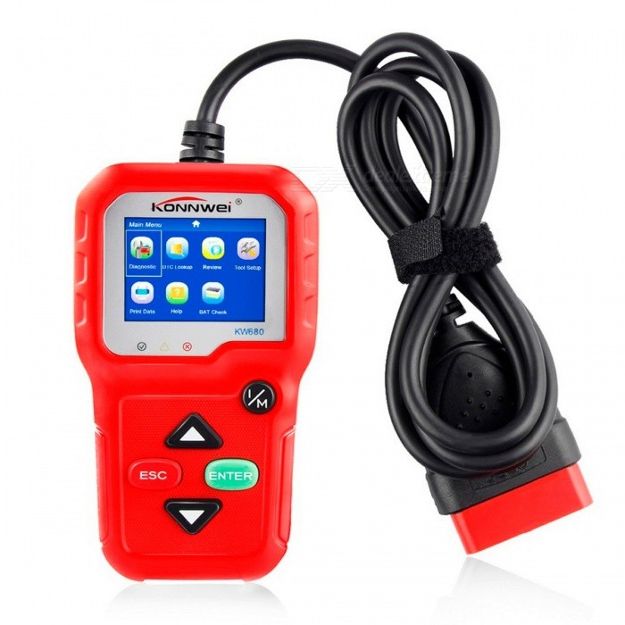 Car OBDII OBD2 Auto Scanner KONNWEI KW680 Automotive Scaner with Multi-languages Auto Diagnostic Scanner in Russian Red KW680Code Readers and Scan Tools<br>Description<br><br><br><br><br>Item Type: Code Readers &amp;amp; Scan Tools<br><br><br>Language: Spanish,English,Dutch,Portuguese,French,Italian,Russian,German<br><br><br><br><br>Brand Name: KONNWEI<br><br><br>Software Update: Yes<br><br><br><br><br>Special Features: Other<br><br><br><br><br><br><br><br><br><br><br><br><br>OBD2 Automotive Scanner KONNWE KW680&amp;nbsp;Brief Description<br><br><br>The KONNWEI KW680 OBD2 / EOBD / CAN Auto Diagnostic Scanner supports <br>all 10 OBDII test modes on all OBDII compliant vehicles for a complete <br>diagnosis. Featuring the unique patented One-Click I/M Readiness Key, <br>TFT color display and built-in speaker, Real Time Battery Voltage <br>Monitoring, the KONNWEI KW680&amp;nbsp;&amp;nbsp;is truly the ultimate in power and <br>affordability, allowing users to do their jobs faster.<br><br><br><br><br>KONNWEI KW680 Supports 8 languages Diagnostic Interface<br><br><br>English, Spanish, Portuguese, French, Russian, German, Dutch, Italian<br><br><br><br><br><br><br><br><br>OBD2 Automotive Scanner KONNWE KW680&amp;nbsp;&amp;nbsp;Functions list<br><br><br>1. Works on ALL 1996 and newer vehicles (OBDII &amp;amp; CAN) - domestic and import<br><br><br>2. Features the unique patented One-Click Readiness Key for quick State Emissions readiness check and drive cycle verification.<br><br><br>3. Bright color coded LEDs indicators and built-in speaker provide both visual and audible tone for readiness verification<br><br><br>4. Retrieves generic (P0, P2, P3 and U0), manufacturer specific (P1, P3 and U1) codes and pending codes<br><br><br>5. Easily determines the cause of the Check Engine Light(MIL)<br><br><br>6. Turns off Check Engine Light (MIL), clears codes and resets monitors<br><br><br>7. Enhanced OBD2 Mode 6 On Board Monitoring Test Results for Specific Monitored Systems.<br><br><br>8. Views freeze frame data<br><br><br>9. Displays monitor and I/M readiness status (emissions)<br><br><br>10. Reads live PCM datastream<br><br><br>11. Displays live O2 sensor test data<br><br><br>12. EVAP System test data<br><br><br>13. Live sensor data in text mode and graph mode (1996 and newer vehicles)<br><br><br>14. Reads, stores and playbacks live sensor data<br><br><br>15. Troubleshooter code tips guide technicians to the root cause of a trouble code faster, saving diagnosis and repair time<br><br><br>16. Battery Voltage real time monitoring.<br><br><br>17. Built-in DTC look-up library and display definition.<br><br><br>18. Retrieves vehicle information (VIN, CIN and CVN)<br><br><br>19. Internet updateable and upgradeable<br><br><br>20. Prints data via PC <br><br><br><br><br><br><br><br><br><br>Top 9&amp;nbsp;Reasons to Choose KW680&amp;nbsp;&amp;nbsp;OBD2 Automotive Scanner:&amp;nbsp;<br><br><br>1. Multilingual diagnostic interface: KW680 Supports up to 8 different languages user interface,<br><br><br>English, Spanish, Portuguese, French, Russian, German, Dutch, Italian<br><br><br><br><br>2.&amp;nbsp;Mini Multifunction&amp;nbsp;OBD2 Automotive Scanner with good price&amp;nbsp; <br><br><br><br>3. High Quality and High Resolution TFT colorful display helps you easily to find out the troubles of your car. <br><br><br>&amp;nbsp;<br><br><br>4. Bright color coded LEDs and built-in speaker provide both visual and audible tone for readiness verification. <br><br><br>&amp;nbsp;<br><br><br>5. Brand New design Key pad, unique patented One-Click I/M Readiness Key, it is the best partner for your car repairing. <br><br><br>&amp;nbsp;<br><br><br>6. Featured battery real-time monitoring during diagnostics, avoid un-expected happened. <br><br><br>&amp;nbsp;<br><br><br>7.<br> Intergrated memory card allows storage of Trouble Codes, Live Data and <br>freeze frame, Playback and review data when out of vehicles. <br><br><br>&amp;nbsp;<br><br><br>8. Data printable through USB cable, allows modify and print-out storaged data. <br><br><br>&amp;nbsp;<br><br><br>9. Internet upgradable via usb port, adapted to Windows XP- Windows 7.<br>