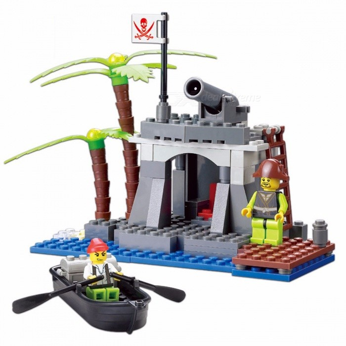 Image of KAZI Toys Pirates Series Building Blocks Bricks Building Blocks Education Toys for Children Christmas Brinquedos Toys Gray