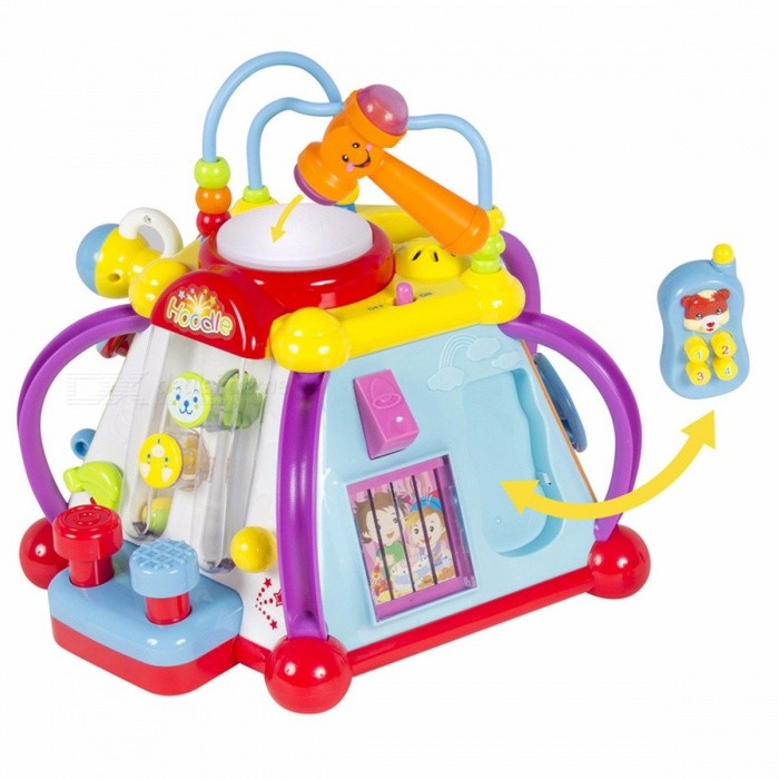Babys Musical Instrument Toy Activity Cube Play Center with Lights 15 Functions and Skills Learning Educational Toys for Kids MulticolorEducational Toys<br>Description<br><br><br><br><br>Gender: Unisex<br><br><br>Type: Stand / Table<br><br><br><br><br>Material: Plastic<br><br><br>Plastic Type: ABS<br><br><br><br><br>Guitar Playing Method: Key Type<br><br><br>Features: Educational,Electronic,Battery Operated<br><br><br><br><br>Age Range: 13-24 Months<br><br><br>Toy Musical Instrument Type: Trumpet<br><br><br><br><br>Toy Keyboard Type: Infant Playing Type<br><br><br>Brand Name: HUILE TOYS<br><br><br><br><br>Knock Piano Scale: 5 Scales<br><br><br>Quantity: Other<br><br><br><br><br><br><br><br><br><br><br><br>This<br> toy comes with so many functions that it doesnt matter which way the <br>toy is facing, a child will find something new to be entertained&amp;nbsp; with. <br>On the top of the toy there is a bead set that helps tune a childs fine<br> motor skills and a huge white button that can be hit with a&amp;nbsp; hammer <br>causing it to light up. The hammer can also be used to play a tiny <br>pinball game that is provided on one of the sides of the toy. On&amp;nbsp; <br>another side, there is a little doorbell that can play different <br>friendly tunes that can be used to pleasantly wake a child. There is <br>also a&amp;nbsp; pretend phone a child can use to talk to some friends. A child <br>will find a steering wheel that comes with buttons and sounds that <br>imitate a car&amp;nbsp; to provide practice for your little speed racer. There is<br> also a microphone that a child can use to speak in and sing along to <br>other amusing&amp;nbsp; songs. This toy comes with so many buttons and many tunes<br> which are specifically tailored to increase a child hand-eye <br>coordination, hearing&amp;nbsp;development, and fine motor skills in a fun <br>interactive manner! <br><br><br>&amp;nbsp;<br><br><br>NEW PRODUCT WITH FACTORY PACKAGING <br><br><br>&amp;nbsp;<br><br><br>St