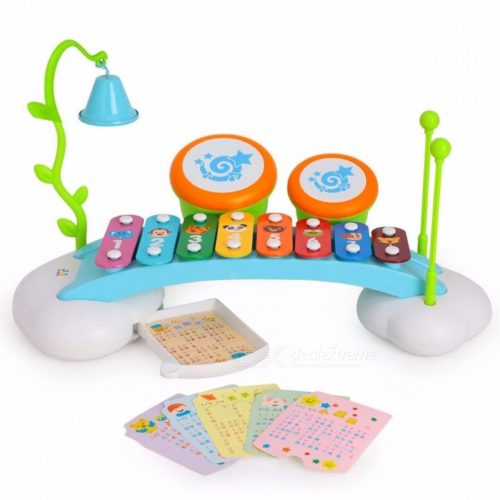 HUILE 909 Baby Toys Colorful Rainbow Hand Knock Piano 8-Note Early Learning Musical Toy Gift for Children ColorfulMusical Instruments<br>Description<br><br><br><br><br>Guitar Playing Method: String Type<br><br><br>Gender: Unisex<br><br><br><br><br>Toy Keyboard Type: Children Learning &amp;amp; Exercising Type<br><br><br>Features: Movie &amp;amp; TV,Non-electric,Educational,Drawable,Model<br><br><br><br><br>Type: Stand / Table<br><br><br>Material: Plastic<br><br><br><br><br>Quantity: 6pcs<br><br><br>Plastic Type: ABS<br><br><br><br><br>Toy Musical Instrument Type: Rod Bell<br><br><br>Knock Piano Scale: 8 Scales<br><br><br><br><br>Age Range: &amp;lt; 3 years old<br><br><br>Brand Name: HUILE TOYS<br><br><br><br><br><br><br><br><br><br><br><br>New musical keys instrument. This <br>awesome toy comes equipped with two mallets, eight different keys, a <br>bell, and two colorful vibrant drums that provide a array of enjoyable <br>music. All of these instruments connect to the little stand that are <br>provided within the musical set. There is also a hidden drawer that <br>pulls out and in which one would find a stack of music that shows you <br>how to play popular tunes. This toy is amazing because it provides kids <br>with the opportunity to explore their music capabilities at such a young<br> age. <br><br><br>&amp;nbsp;<br><br><br>Tap or slide across 8 xylophone keys to create vibrant sounds <br><br><br>Features ringing bell, 2 drums, and 2 drum sticks <br><br><br>Fun and colorful xylophone piano <br><br><br>Comes with music notes to help you play fun songs <br><br><br>Recommended age: 18 months and above <br><br><br>No batteries required<br>