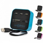 GOOJODOQ 3-Port USB HUB Card Reader Multi USB 2.0 Splitter Combo Support Micro SD TF M2 MS SDHC MMC Card for PC Laptop Green